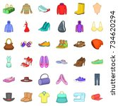 vogue icons set. cartoon style... | Shutterstock .eps vector #734620294