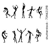 dancing people silhouettes hand drawing illustration - stock photo