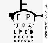 poster for vision testing in... | Shutterstock .eps vector #734623366