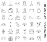 vogue icons set. outline style... | Shutterstock .eps vector #734623510