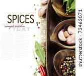 wooden bowls with fresh herbs and spices ( garlic, pepper, bay leaves) With sample text - stock photo