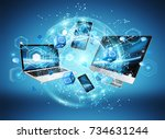tech devices connected to each... | Shutterstock . vector #734631244