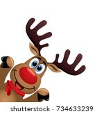 Stock vector vector xmas drawing of funny red nosed reindeer christmas card illustration cartoon rudolph deer 734633239
