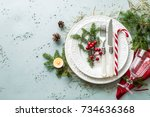 elegant christmas table setting ... | Shutterstock . vector #734636368