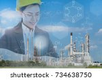 woman engineer and the oil... | Shutterstock . vector #734638750