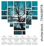 a 2018 tree and nature calendar    Shutterstock . vector #734638978