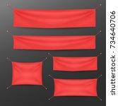 red textile banners with folds... | Shutterstock .eps vector #734640706