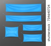 blue textile banners with folds ... | Shutterstock .eps vector #734640724