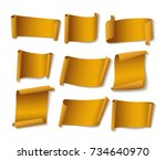 yellow paper banners set.... | Shutterstock .eps vector #734640970