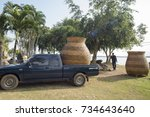 a transport with a big pot at... | Shutterstock . vector #734643640