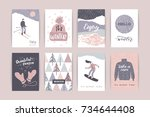 set of artistic creative winter ... | Shutterstock .eps vector #734644408