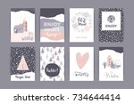set of artistic creative winter ... | Shutterstock .eps vector #734644414