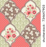 seamless pattern with... | Shutterstock .eps vector #734647903