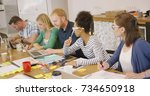 group of young multiracial... | Shutterstock . vector #734650918