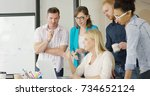 side view of people in casual... | Shutterstock . vector #734652124