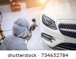staff wear chemical protective...   Shutterstock . vector #734652784