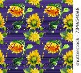 seamless watercolour sunflowers ... | Shutterstock . vector #734654068
