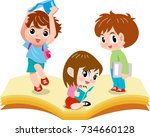 children read happy books | Shutterstock .eps vector #734660128