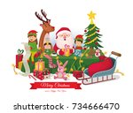 santa claus celebrates... | Shutterstock .eps vector #734666470