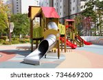 children playground equipment.... | Shutterstock . vector #734669200