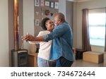 affectionate mature african... | Shutterstock . vector #734672644