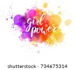 multicolored splash watercolor... | Shutterstock .eps vector #734675314