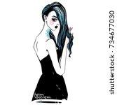 fashion girl vector sketch.... | Shutterstock .eps vector #734677030