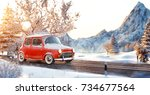 cute little retro car  goes by... | Shutterstock . vector #734677564