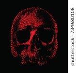 single color vector skull.t... | Shutterstock .eps vector #734680108