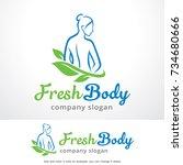 fresh body logo template design ... | Shutterstock .eps vector #734680666