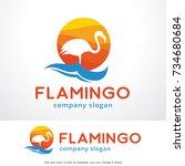 flamingo logo template design...   Shutterstock .eps vector #734680684