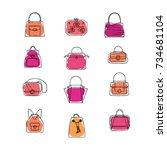 set of fashion purses. hand... | Shutterstock .eps vector #734681104