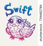 bird swift. print  cards ... | Shutterstock .eps vector #734682784