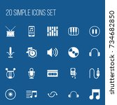 set of 20 editable media icons. ... | Shutterstock .eps vector #734682850