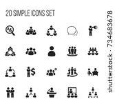 set of 20 editable cooperation... | Shutterstock .eps vector #734683678