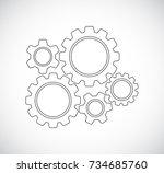 gears teamwork mechanism  ... | Shutterstock .eps vector #734685760