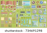 vector set. green city. top... | Shutterstock .eps vector #734691298