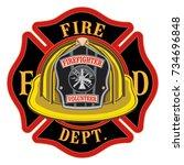fire department cross volunteer ... | Shutterstock .eps vector #734696848