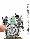 engine maintenance for large... | Shutterstock . vector #734700799