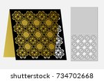 card with a repeating geometric ... | Shutterstock .eps vector #734702668