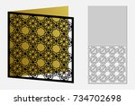 card with a repeating geometric ... | Shutterstock .eps vector #734702698