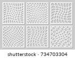 set pattern geometric ornament. ... | Shutterstock .eps vector #734703304