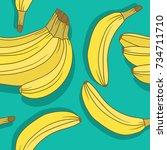 fresh bananas background. hand... | Shutterstock .eps vector #734711710