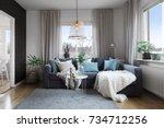 living room in a modern... | Shutterstock . vector #734712256