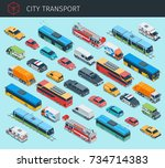 isometric city transport with... | Shutterstock .eps vector #734714383
