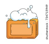 bar soap with foam   Shutterstock .eps vector #734715949