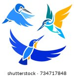 stylized birds   kingfishers in ... | Shutterstock .eps vector #734717848