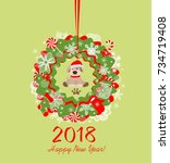 funny paper applique with xmas... | Shutterstock .eps vector #734719408