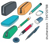 vector set of pencil case | Shutterstock .eps vector #734720788