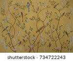Stock photo birds and flowers on gold background 734722243